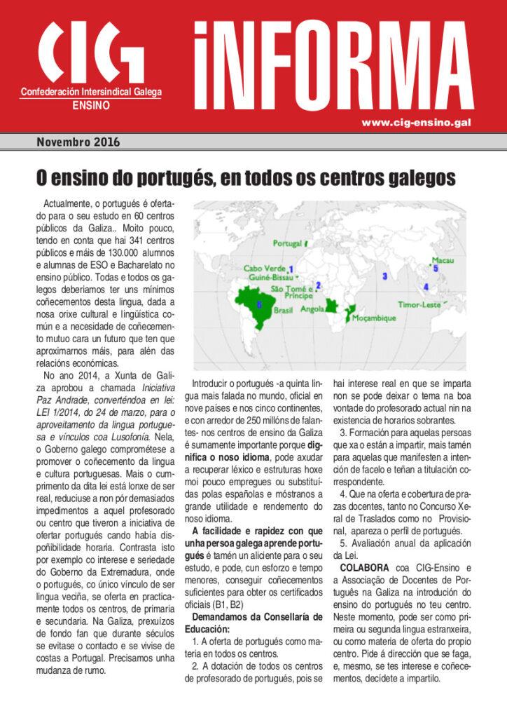 Folha informativa distribuída pelos centros de ensino galegos.